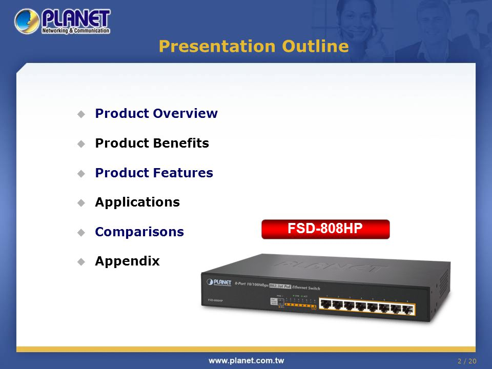 Presentation Outline FSD-808HP Product Overview Product Benefits