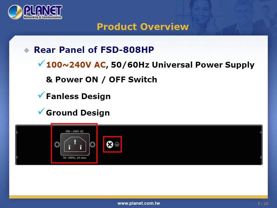 Product Overview Rear Panel of FSD-808HP