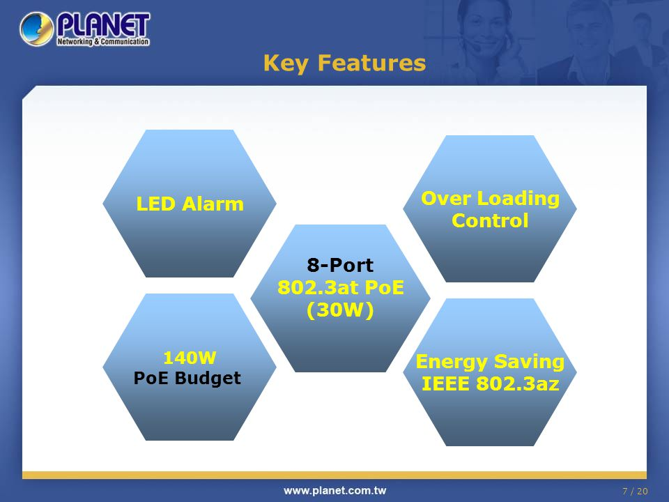 Key Features LED Alarm Over Loading Control 8-Port 802.3at PoE (30W)