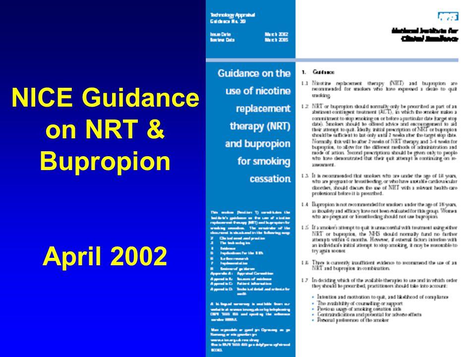 NICE Guidance on NRT & Bupropion