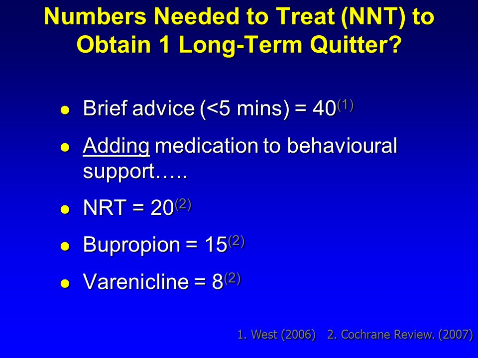 Numbers Needed to Treat (NNT) to Obtain 1 Long-Term Quitter