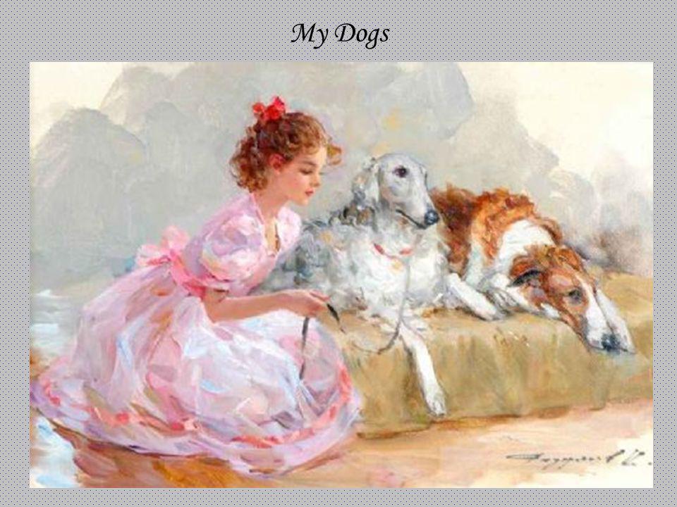 My Dogs KONSTANTIN RAZUMOV (Born 1974) RUSSIAN My Dogs . Signed. 24 x 35cms.