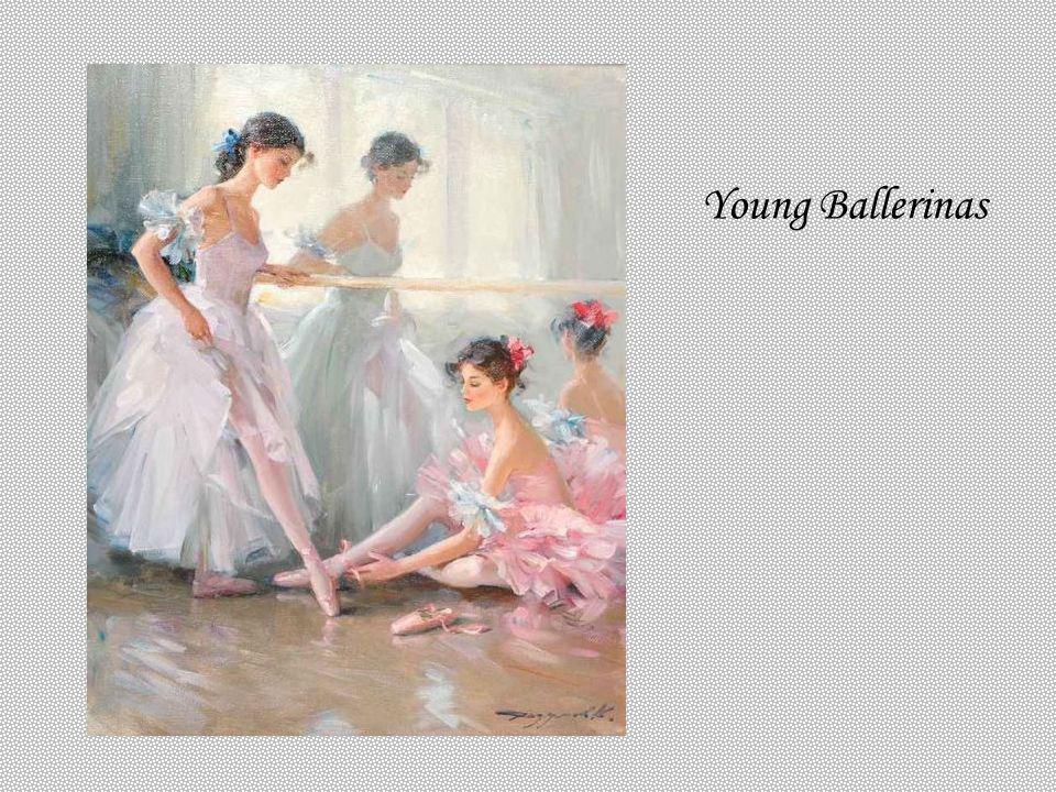 Young Ballerinas KONSTANTIN RAZUMOV (Born 1974) RUSSIAN Young Ballerinas . Signed. 41 x 33cms.
