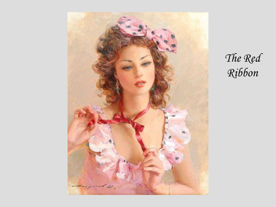 The Red Ribbon KONSTANTIN RAZUMOV (Born 1974) RUSSIAN The Red Ribbon . Signed. 35 x 27cms.