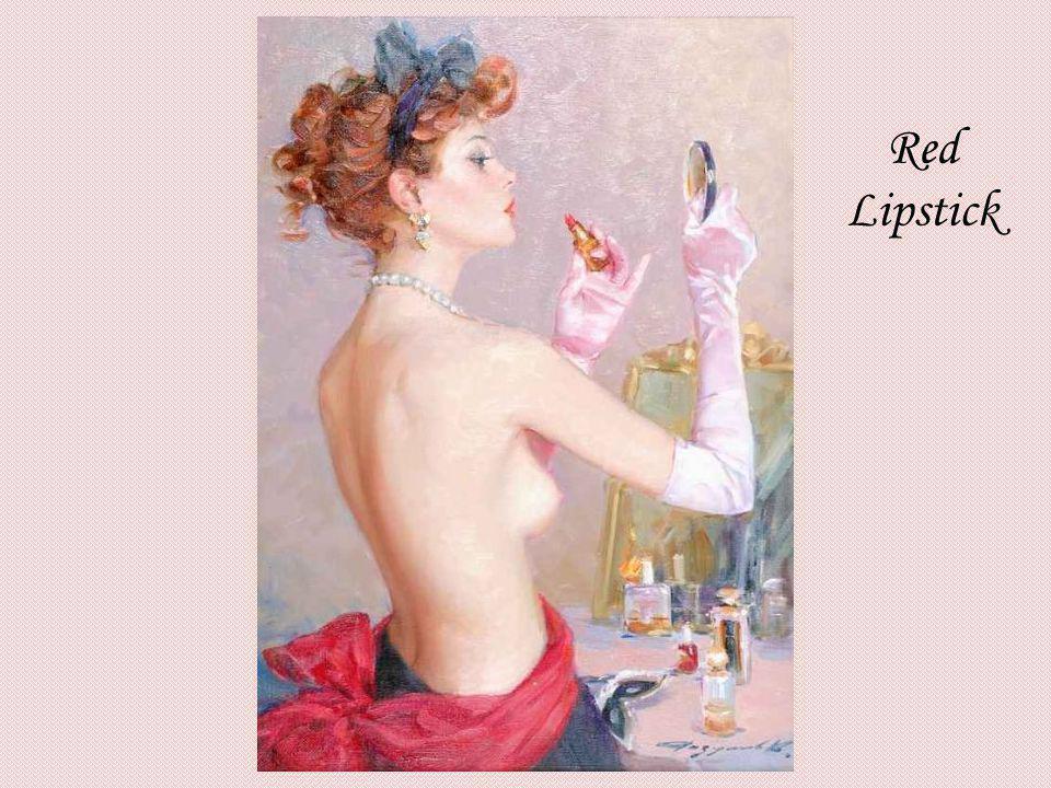 Red Lipstick KONSTANTIN RAZUMOV (Born 1974) RUSSIAN Red Lipstick . Signed. 46 x 33cms.