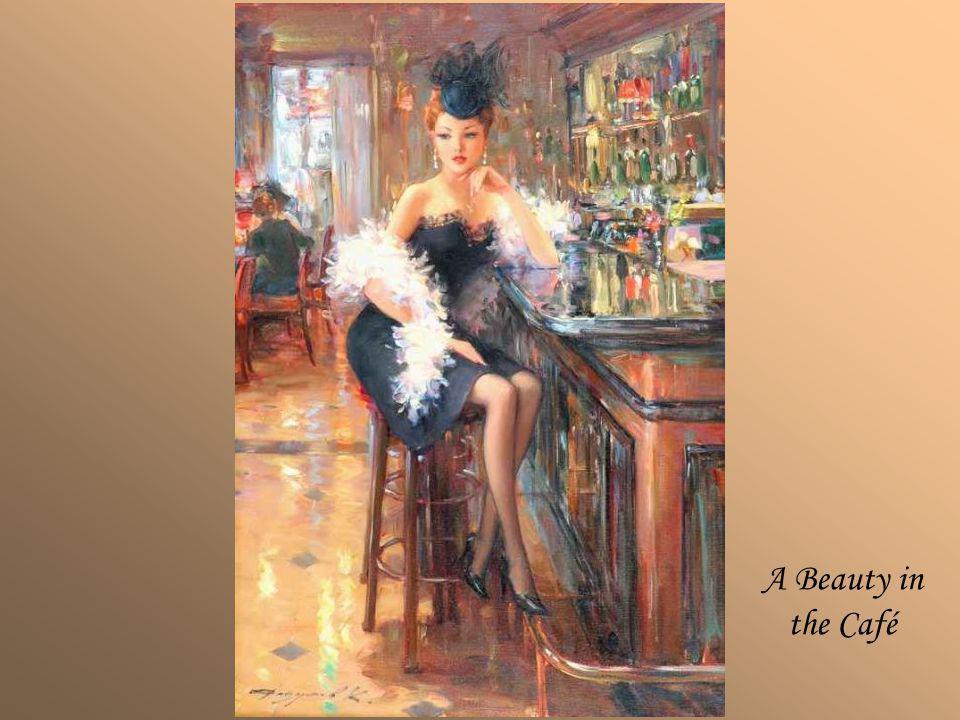 KONSTANTIN RAZUMOV (Born 1974) RUSSIAN A Beauty in the Café . Signed