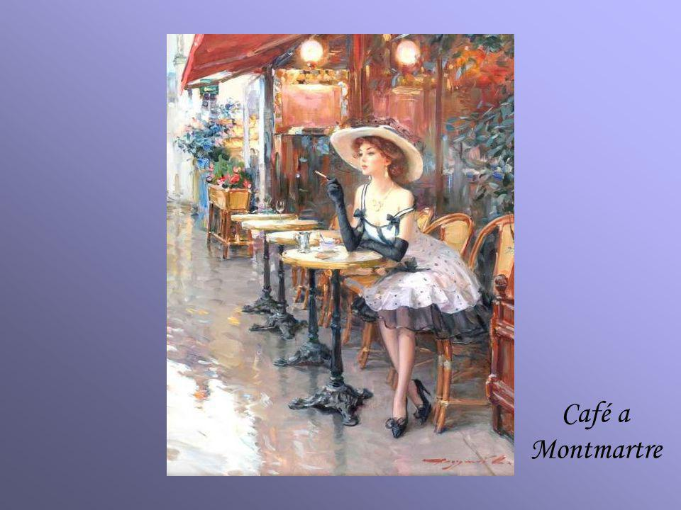 KONSTANTIN RAZUMOV (Born 1974) RUSSIAN Café a Montmartre . Signed