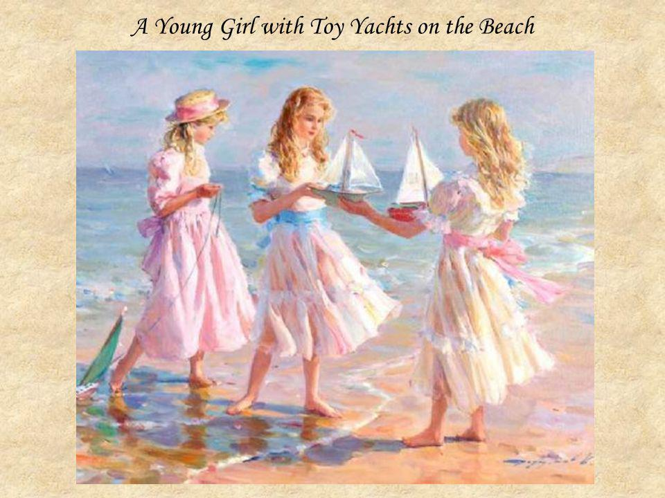 A Young Girl with Toy Yachts on the Beach