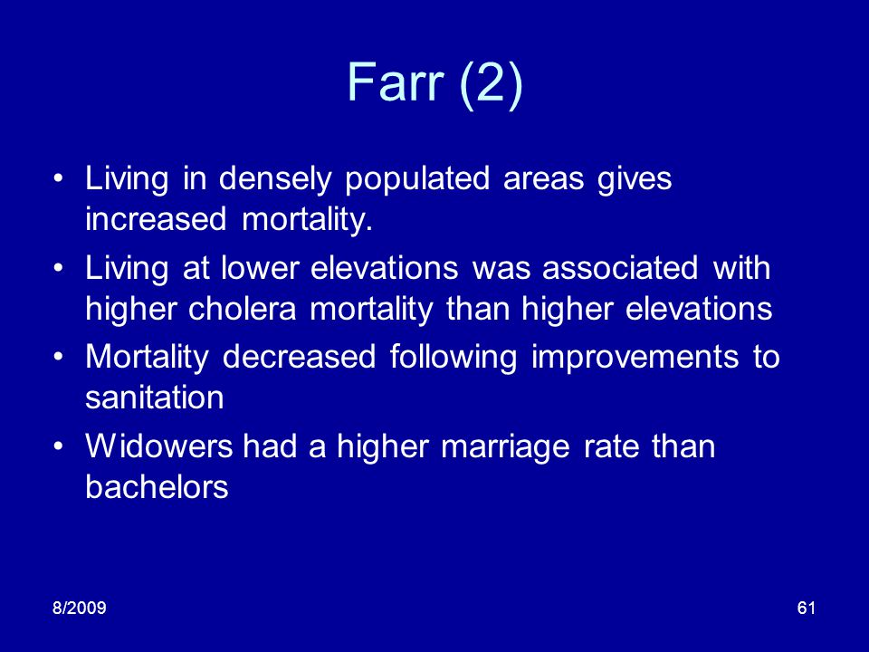 Farr (2) Living in densely populated areas gives increased mortality.