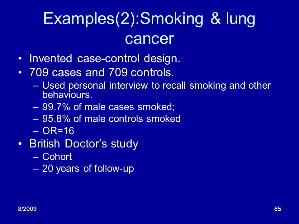 Examples(2):Smoking & lung cancer