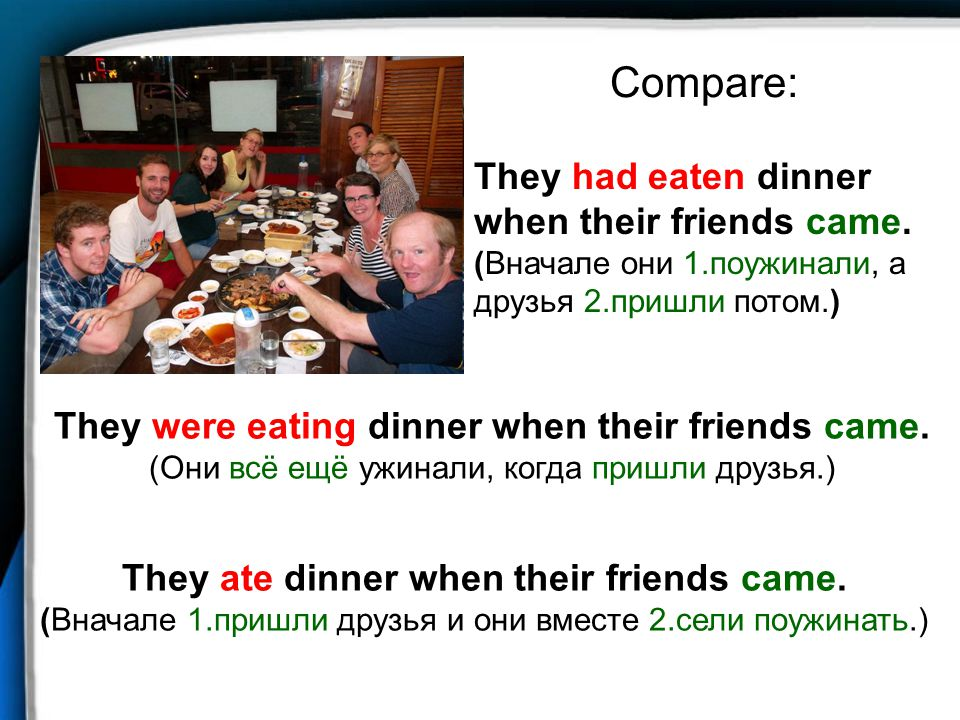 Compare: They had eaten dinner when their friends came. (Вначале они 1.поужинали, а друзья 2.пришли потом.)