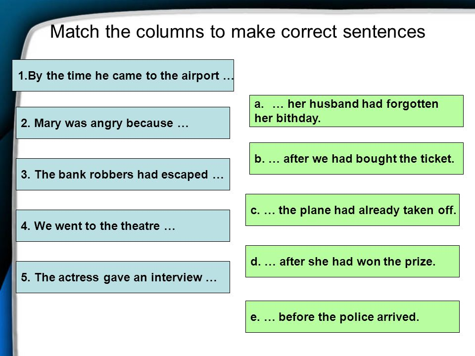 Match the columns to make correct sentences