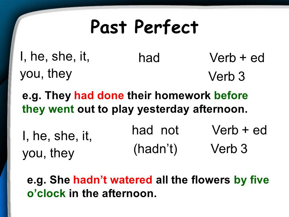 Past Perfect I, he, she, it, you, they had Verb + ed Verb 3 had not