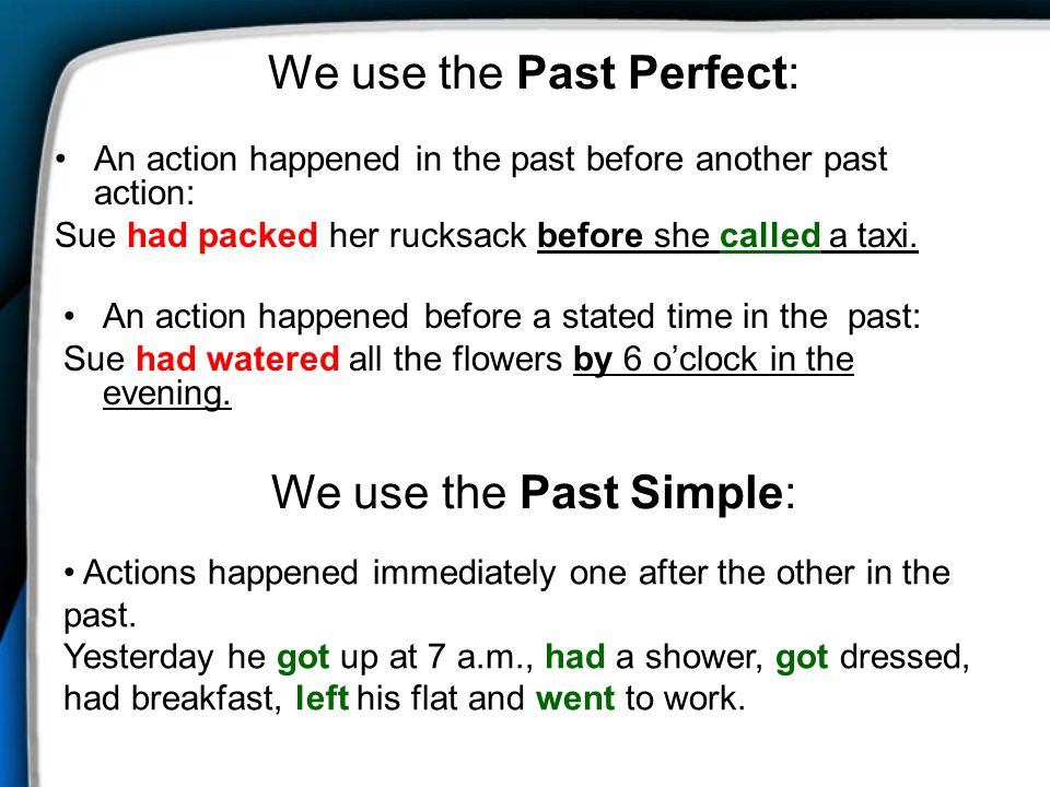 We use the Past Perfect: