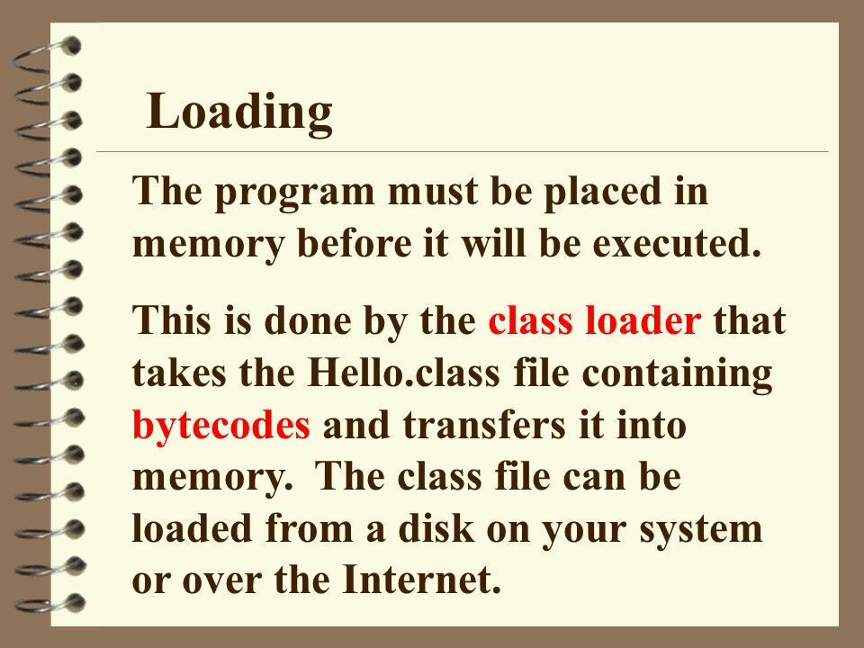 Loading The program must be placed in memory before it will be executed.