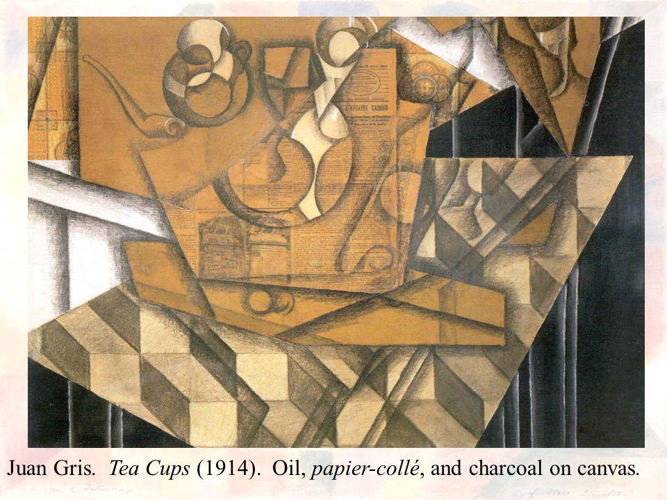 Juan Gris. Tea Cups (1914). Oil, papier-collé, and charcoal on canvas.