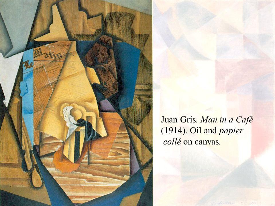 Juan Gris. Man in a Café (1914). Oil and papier collé on canvas.