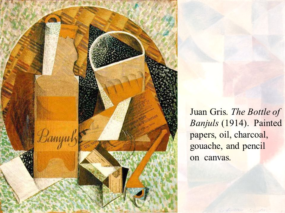 Juan Gris. The Bottle of Banjuls (1914). Painted.