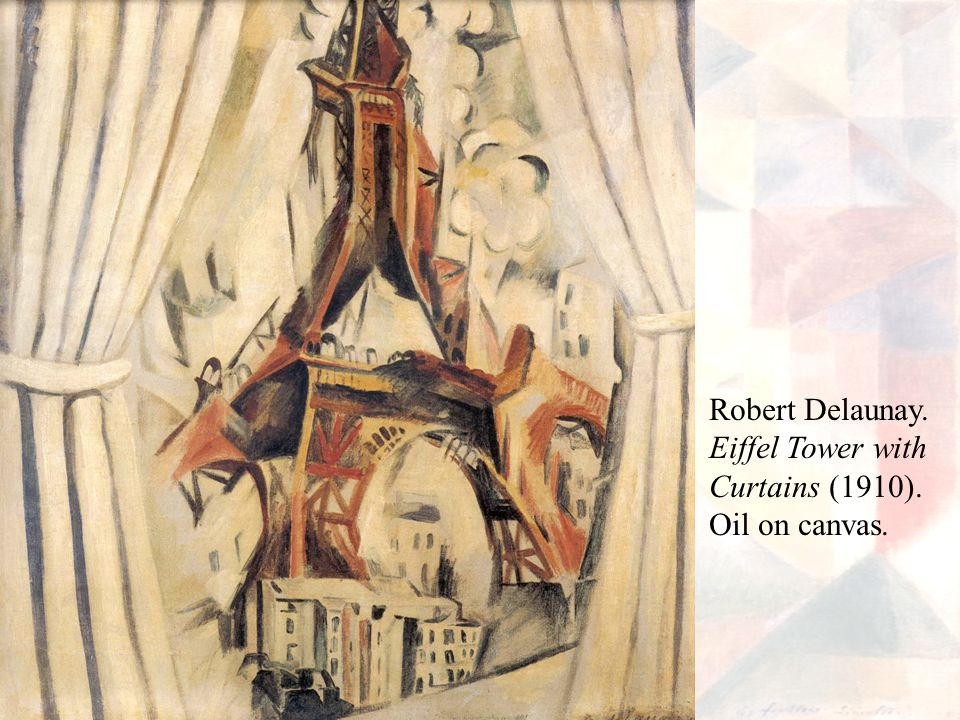 Robert Delaunay. Eiffel Tower with Curtains (1910). Oil on canvas.