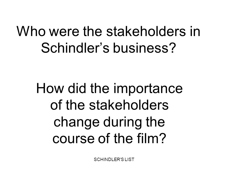 Who were the stakeholders in Schindler's business