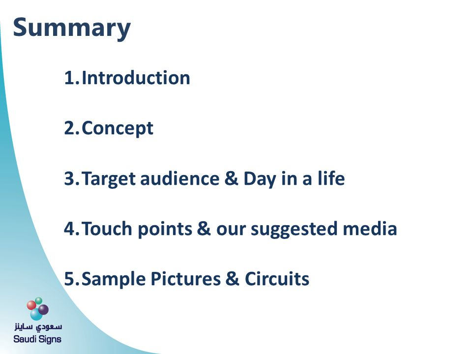 Summary Introduction Concept Target audience & Day in a life