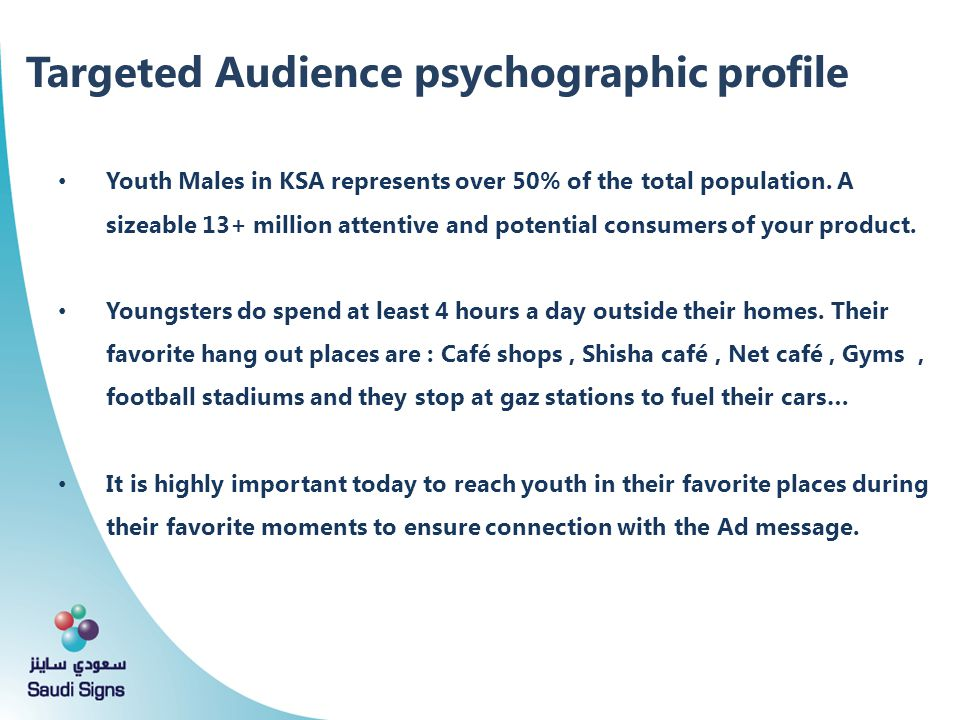 Targeted Audience psychographic profile