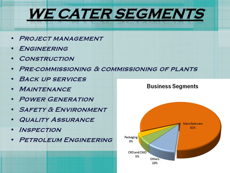 WE CATER SEGMENTS Project management Engineering Construction