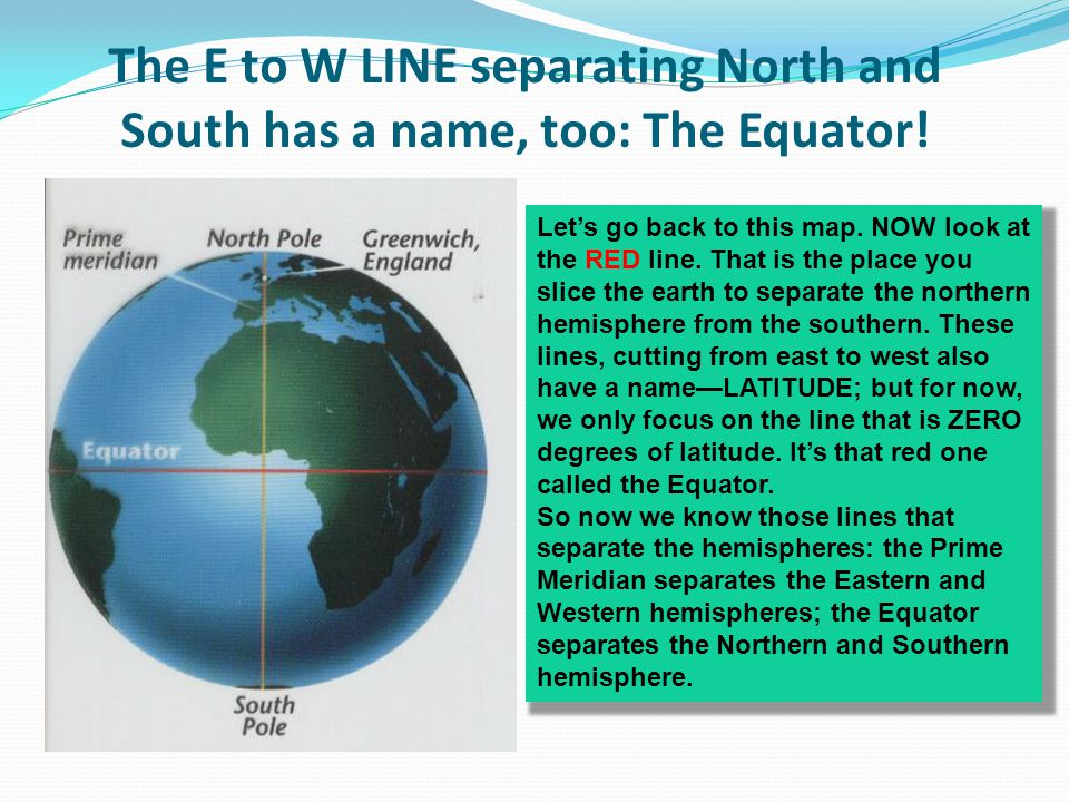 The E to W LINE separating North and South has a name, too: The Equator!