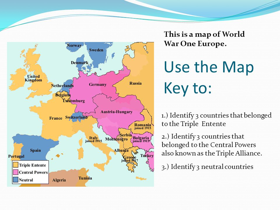 Use the Map Key to: This is a map of World War One Europe.