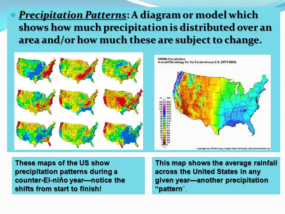 Precipitation Patterns: A diagram or model which shows how much precipitation is distributed over an area and/or how much these are subject to change.