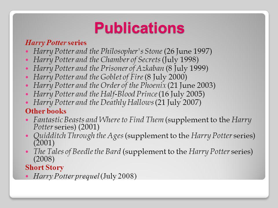 Publications Harry Potter series