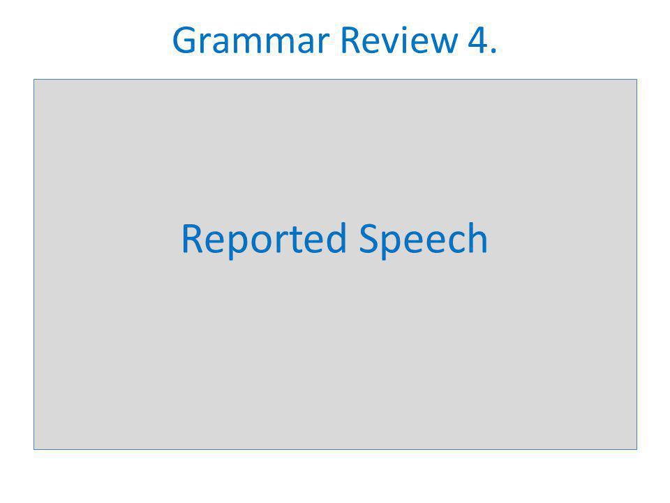 Grammar Review 4. Reported Speech