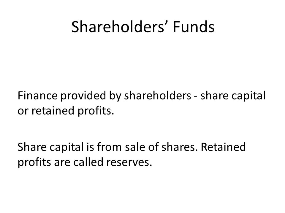 Shareholders' Funds