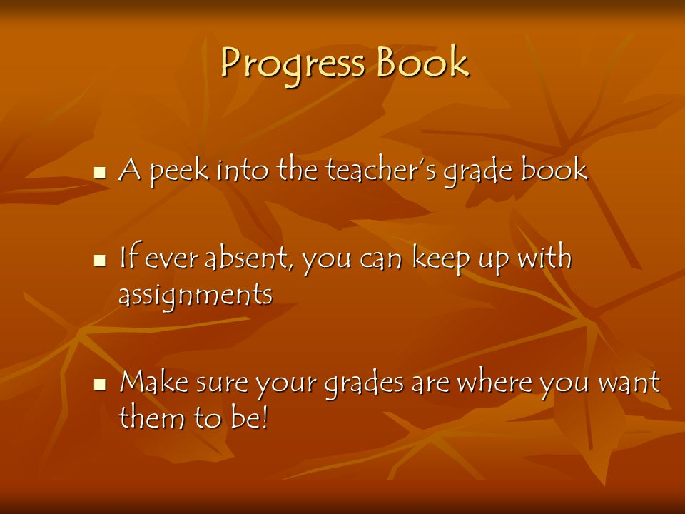 Progress Book A peek into the teacher's grade book