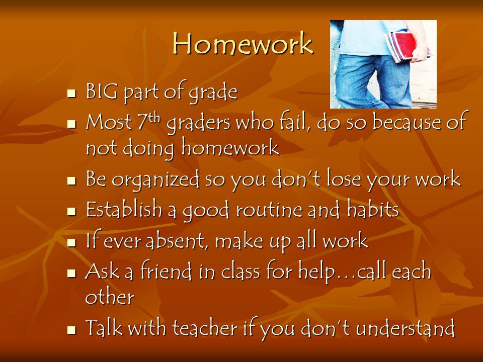 Homework BIG part of grade