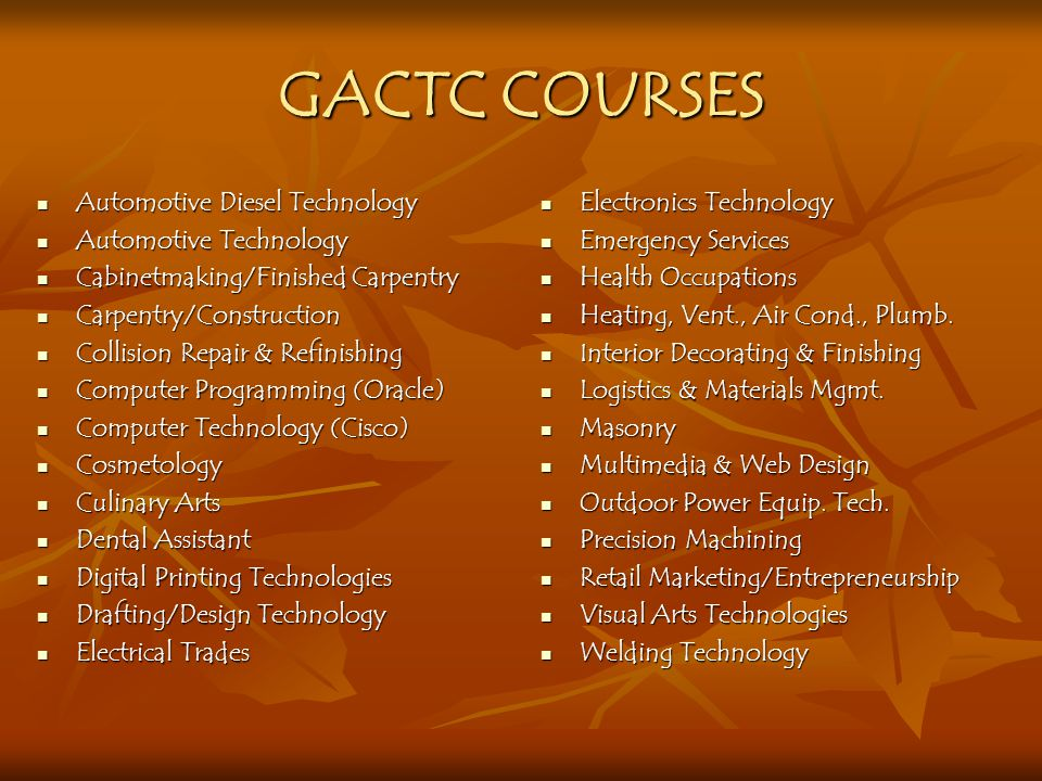 GACTC COURSES Automotive Diesel Technology Automotive Technology