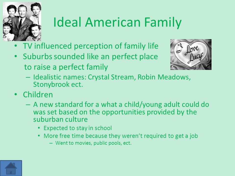 Ideal American Family TV influenced perception of family life
