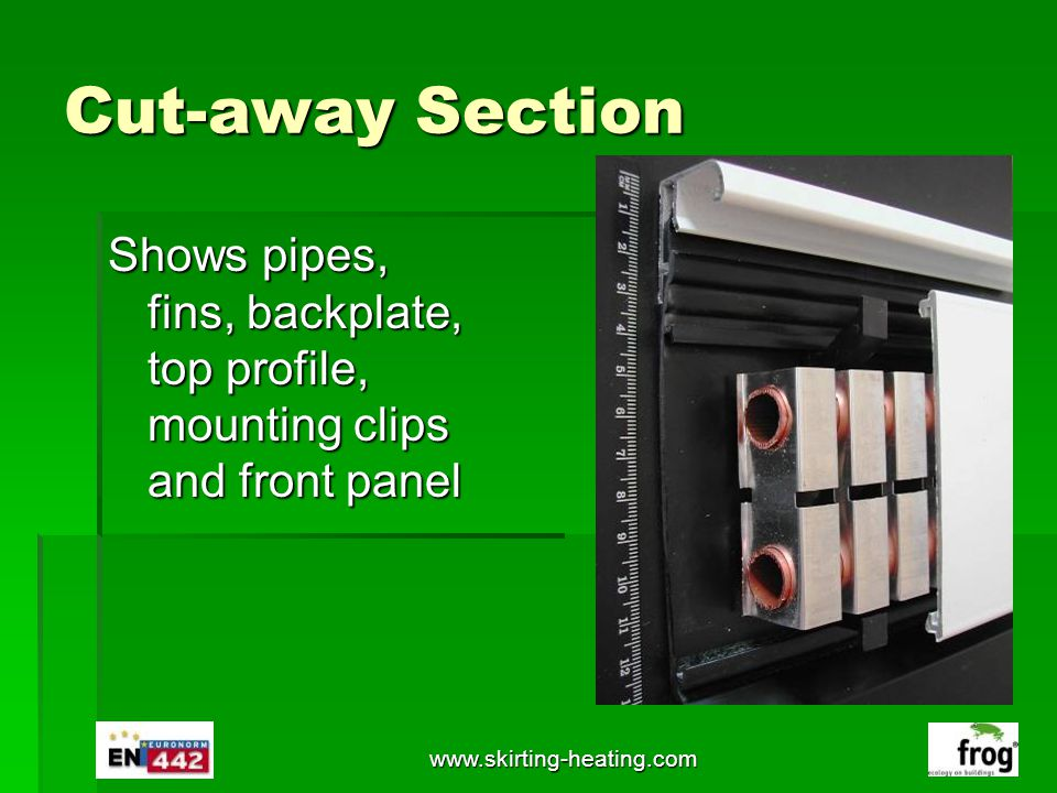 Cut-away Section Shows pipes, fins, backplate, top profile, mounting clips and front panel.