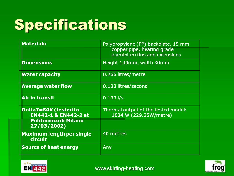 Specifications www.skirting-heating.com Materials