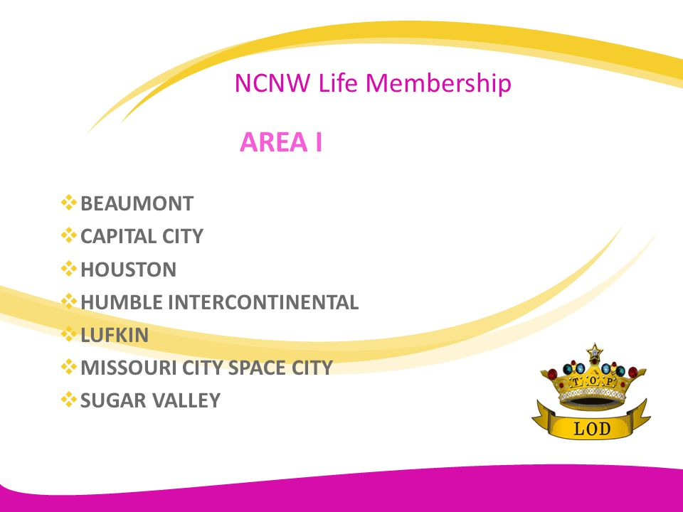 AREA I NCNW Life Membership BEAUMONT CAPITAL CITY HOUSTON