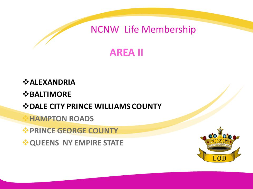AREA II NCNW Life Membership ALEXANDRIA BALTIMORE