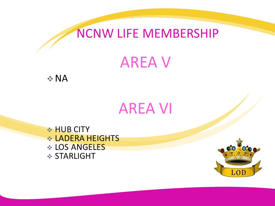 AREA V AREA VI NCNW LIFE MEMBERSHIP NA HUB CITY LADERA HEIGHTS