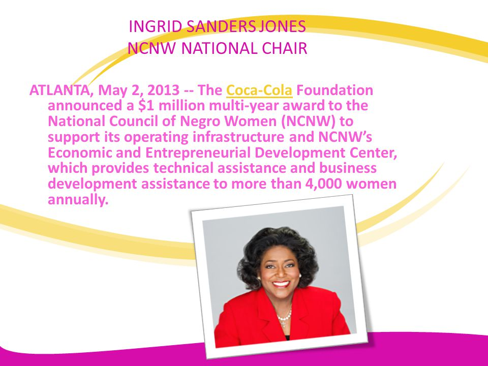 INGRID SANDERS JONES NCNW NATIONAL CHAIR