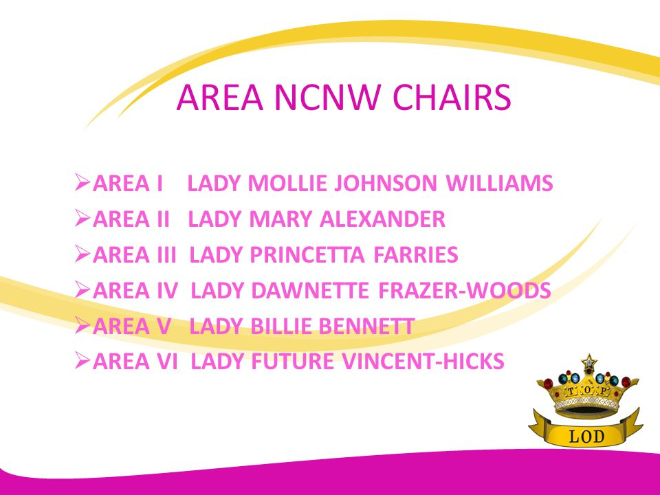 AREA NCNW CHAIRS AREA I LADY MOLLIE JOHNSON WILLIAMS