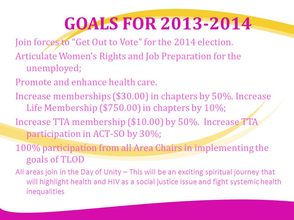 GOALS FOR 2013-2014 Join forces to Get Out to Vote for the 2014 election. Articulate Women's Rights and Job Preparation for the unemployed;