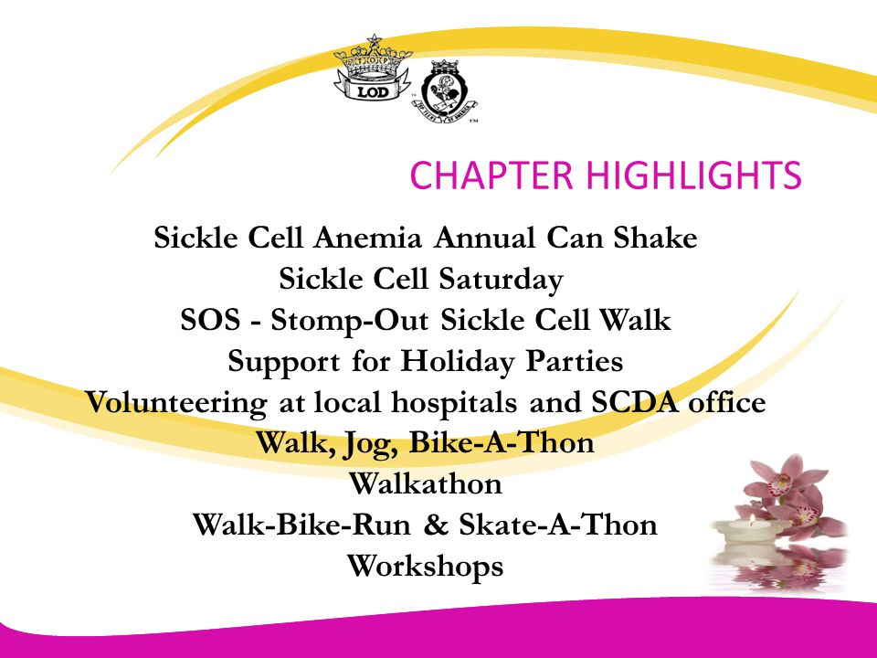 CHAPTER HIGHLIGHTS Sickle Cell Anemia Annual Can Shake