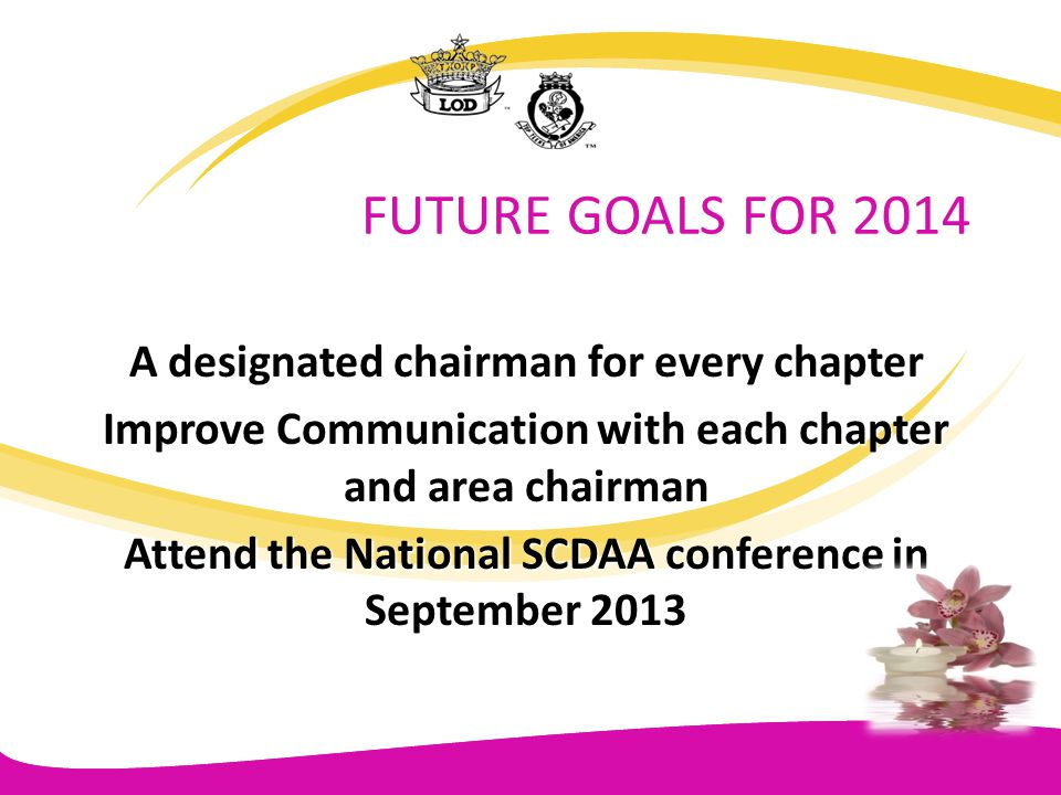 FUTURE GOALS FOR 2014 A designated chairman for every chapter