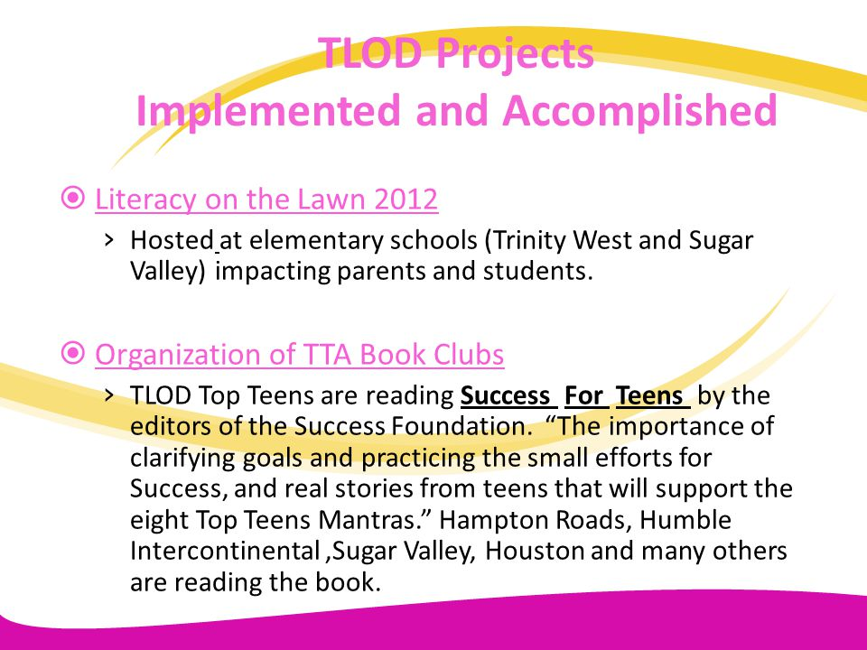 TLOD Projects Implemented and Accomplished