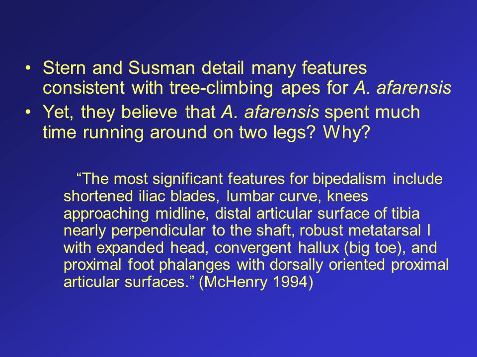 Stern and Susman detail many features consistent with tree-climbing apes for A. afarensis