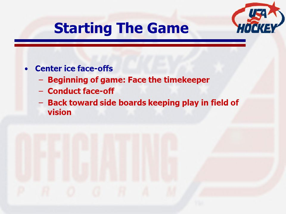 Starting The Game Center ice face-offs